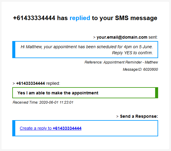 SMS Reply Notification Example